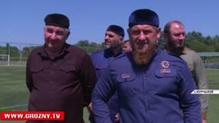 Рамзан Кадыров побывал с проверкой на футбольном стадионе в райцентре Курчалой