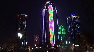 Czeczenia. Wyświetlacz na wieży Grozny City / Чечня. Светящиеся надписи на башне Грозный-Сити
