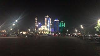 Город Грозный сейчас. Ночной пейзаж